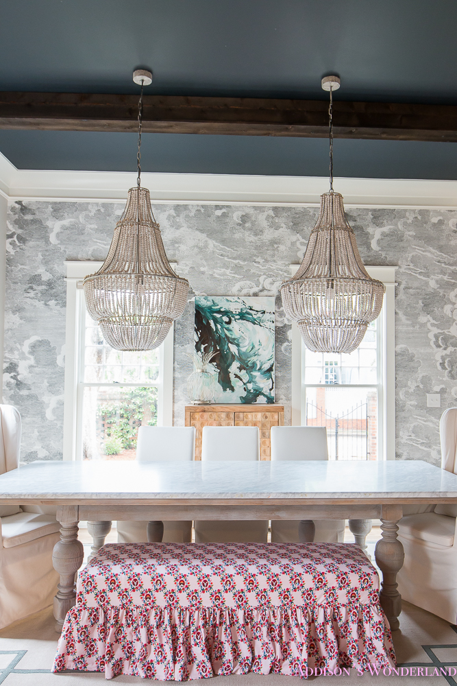 Dining Room Bench Fabric Ruffles Beaded Chandelier Cloud Wallpaper Marble  Table Parsons Chairs Wonderland 2 Of 6