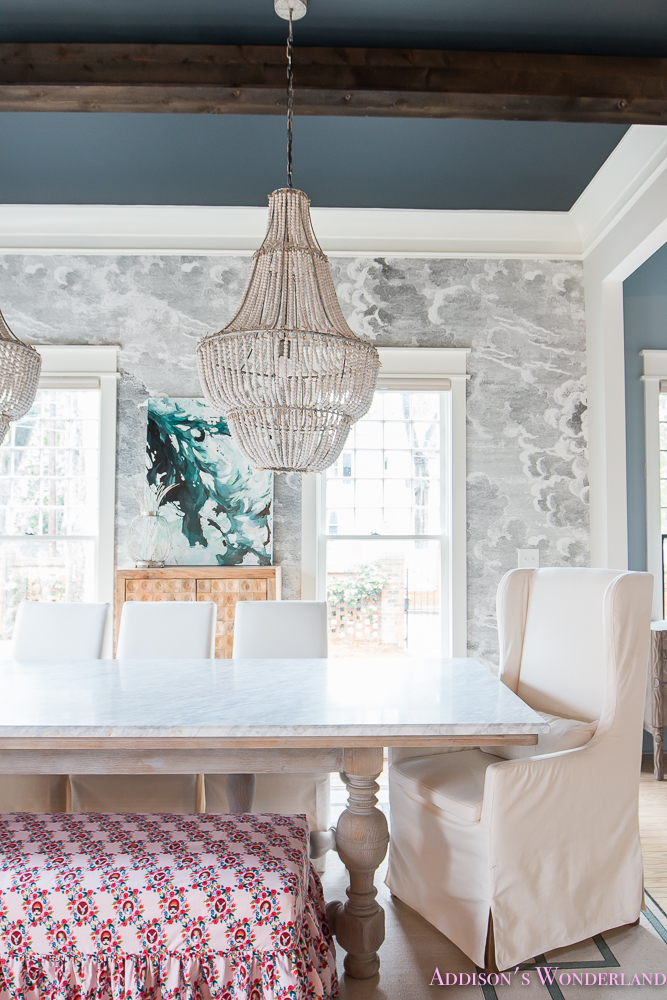 dining-room-bench-fabric-ruffles-beaded-chandelier-cloud-wallpaper ...