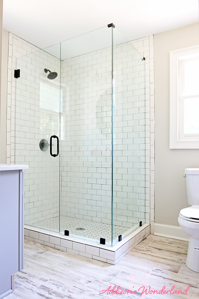 Lakehouse Bathroom Gray Cabinet White Subway Tile 5 - Addison\'s ...