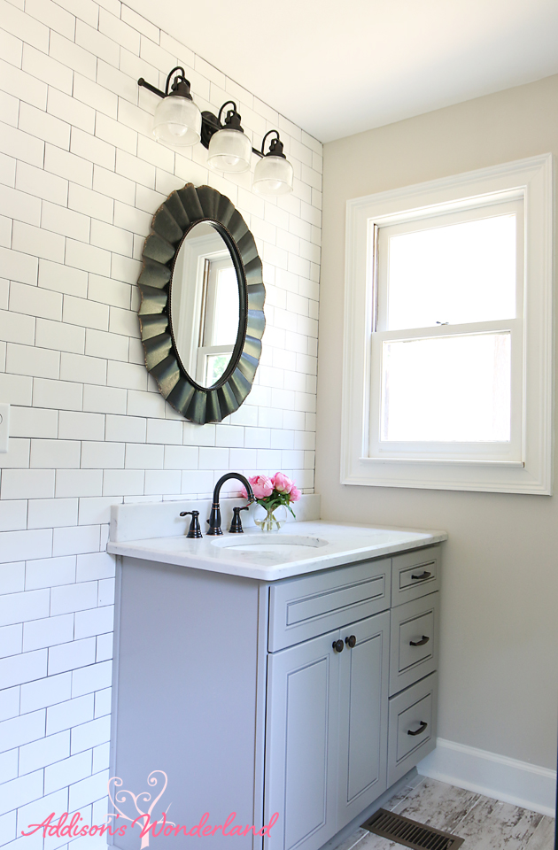 Lakehouse Bathroom Gray Cabinet White Subway Tile Wall 1