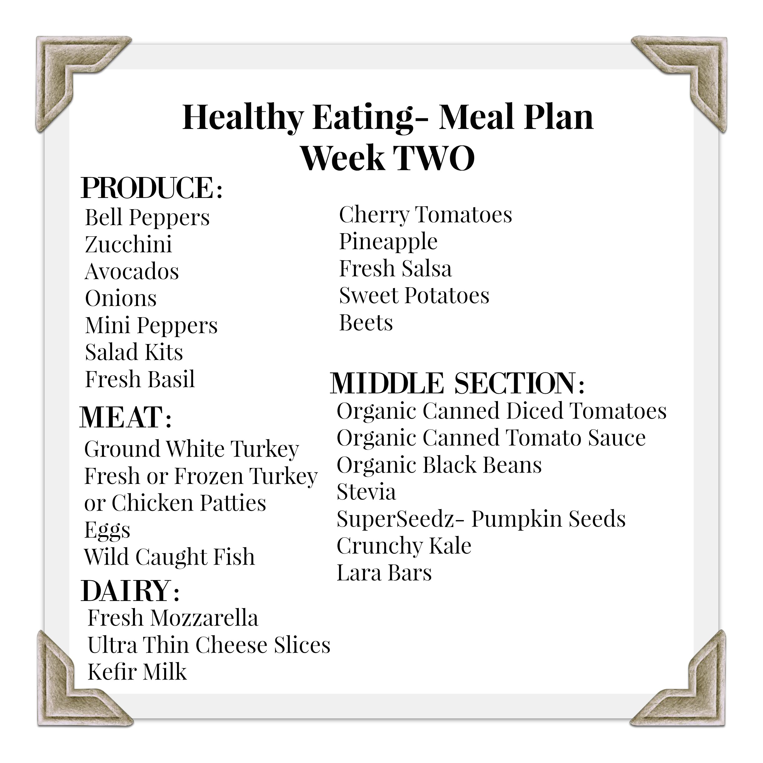 Meal Planning Week Two