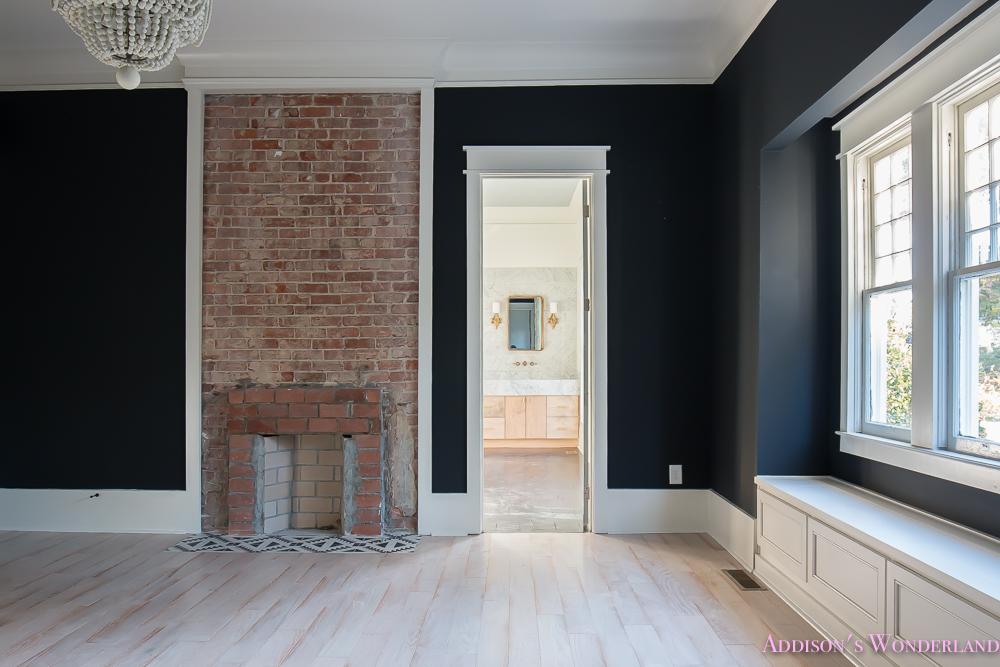 Master Bedroom Black Walls Shaw Hardwood Whitewashed Wood Floors Brick Fireplace White Beaded