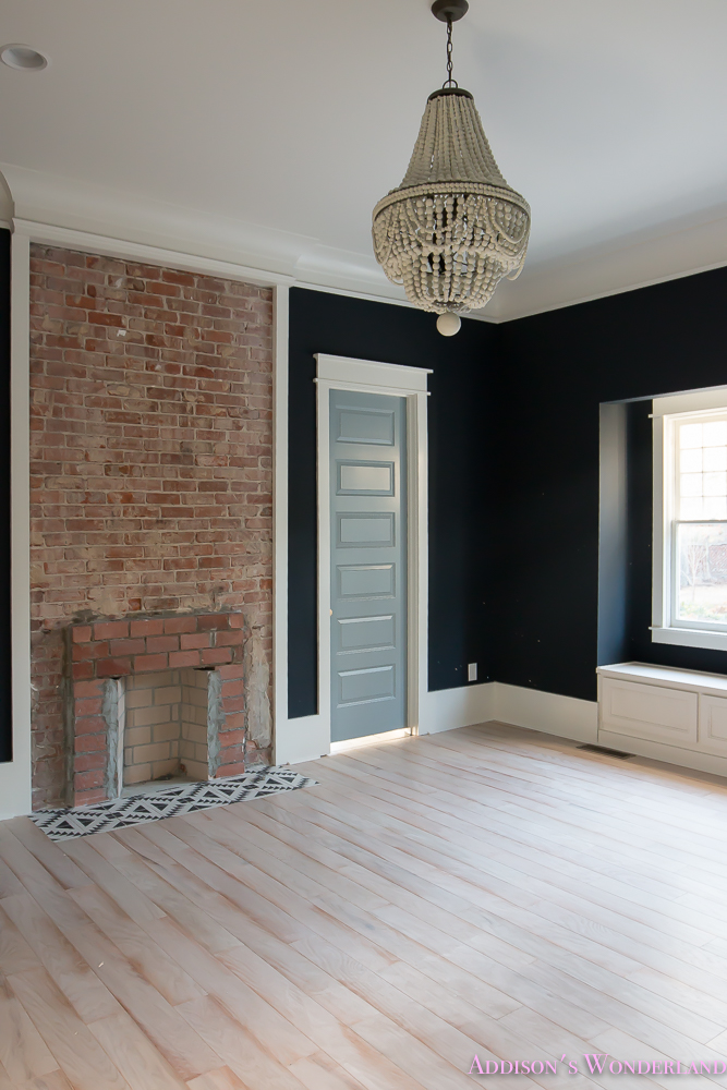 Master Bedroom Black Walls Shaw Hardwood Whitewashed Wood Floors Brick Fireplace White Beaded Chandelier 4 Of 7