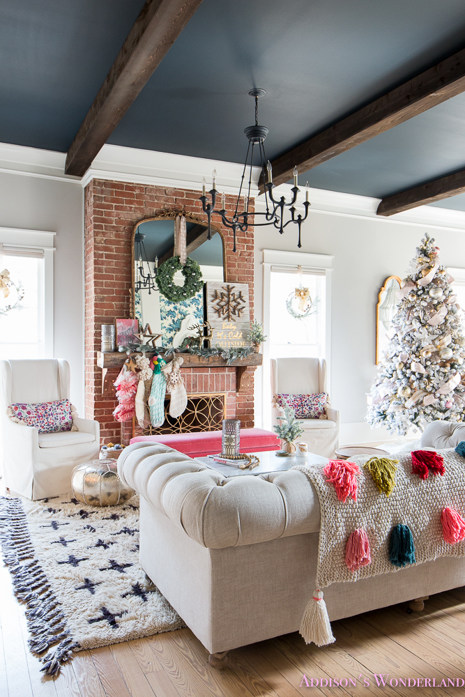 Our colorful christmas holiday living room home tour - Pictures of decorated living rooms ...