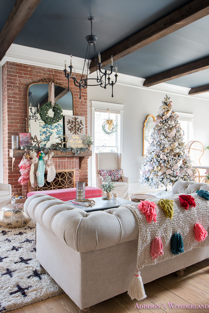 Our colorful christmas holiday living room home tour for S carey living room tour