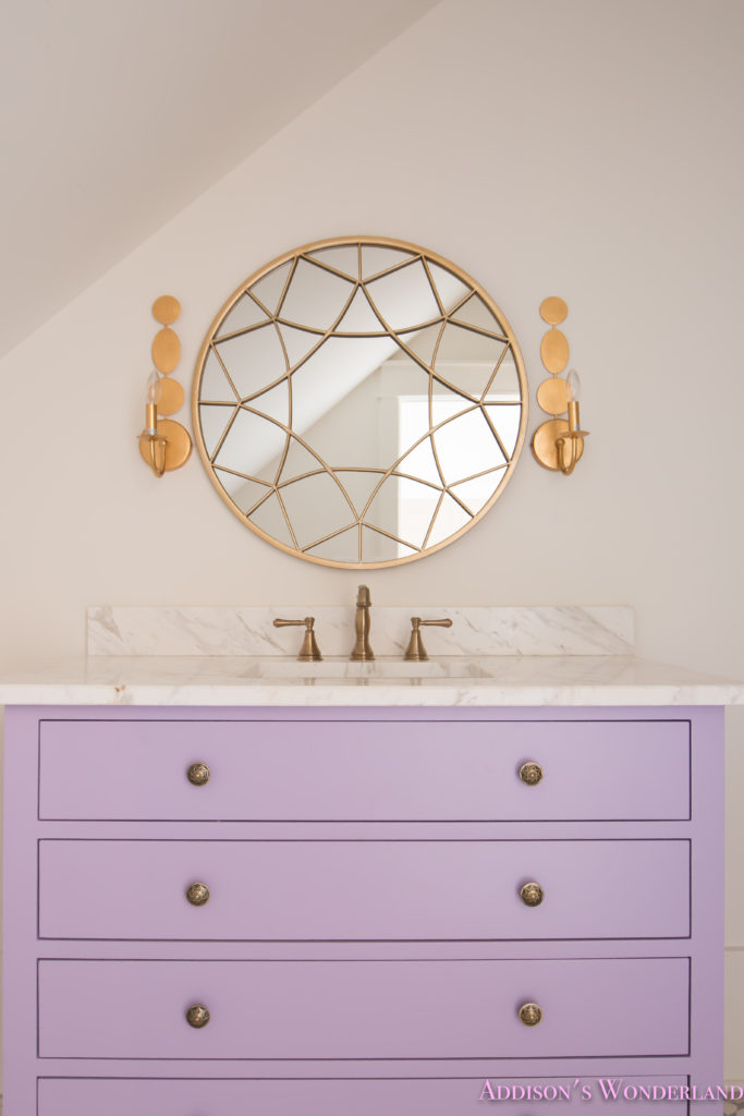 alabaster-walls-girls-bathroom-white-porcelain-marble-subway-tile-cement-tile-patterned-antique-brass-faucet-purple-vanity-cabinet-4-of-6