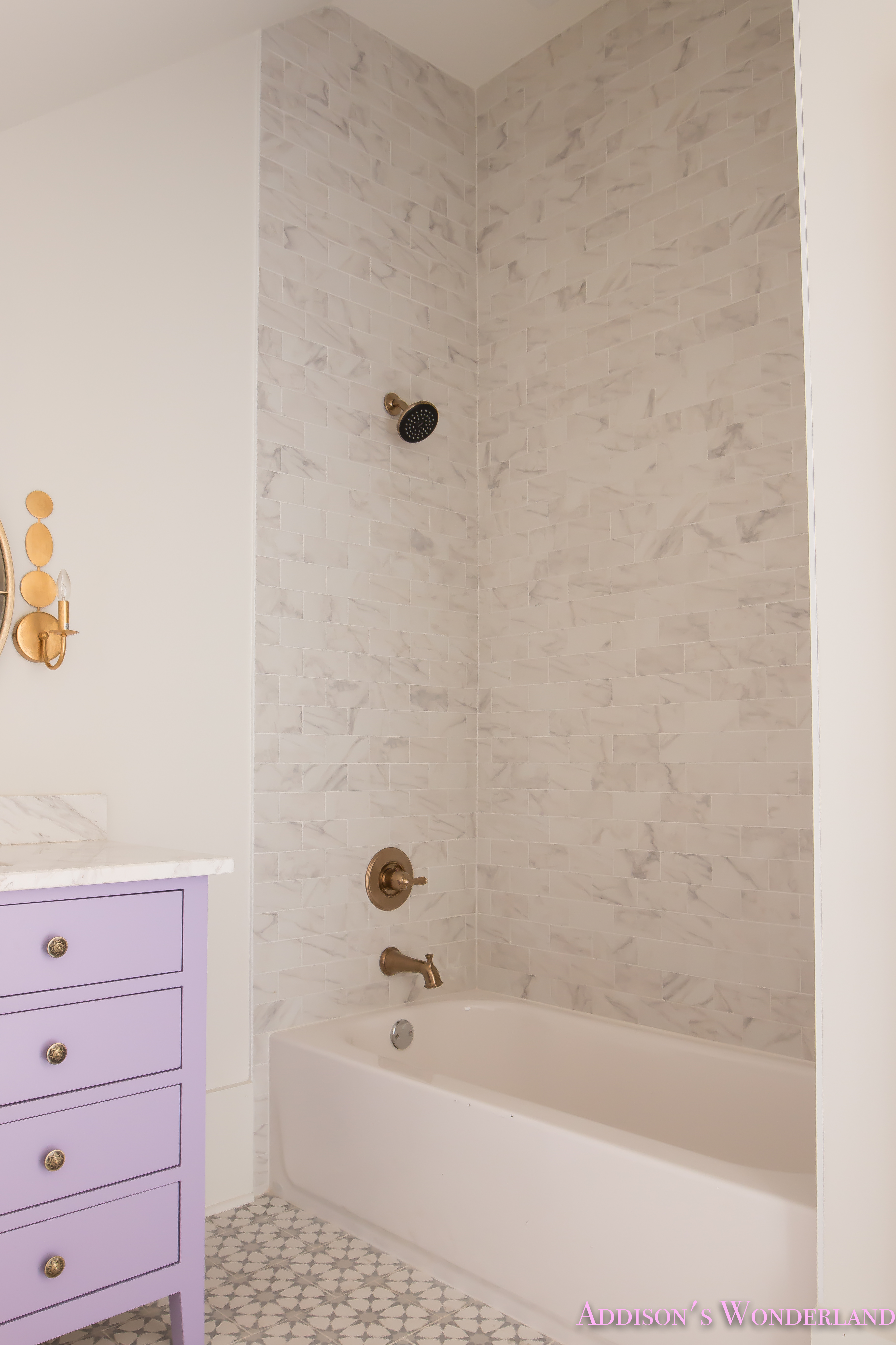 Alabaster walls girls bathroom white porcelain marble subway tile alabaster walls girls bathroom white porcelain marble subway tile cement tile patterned antique brass faucet purple vanity cabinet 5 of 6 dailygadgetfo Gallery