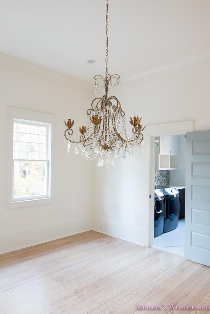 Master Closet Dressing Room Alabaster Walls Vanity Bue Gray Door Chandelier  3 Of 8