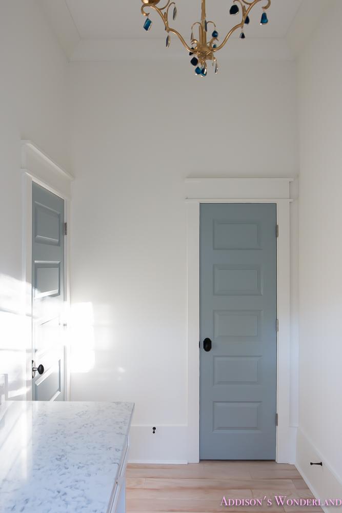 Master Closet Dressing Room Alabaster Walls Vanity Bue Gray Door Chandelier 6 Of 8