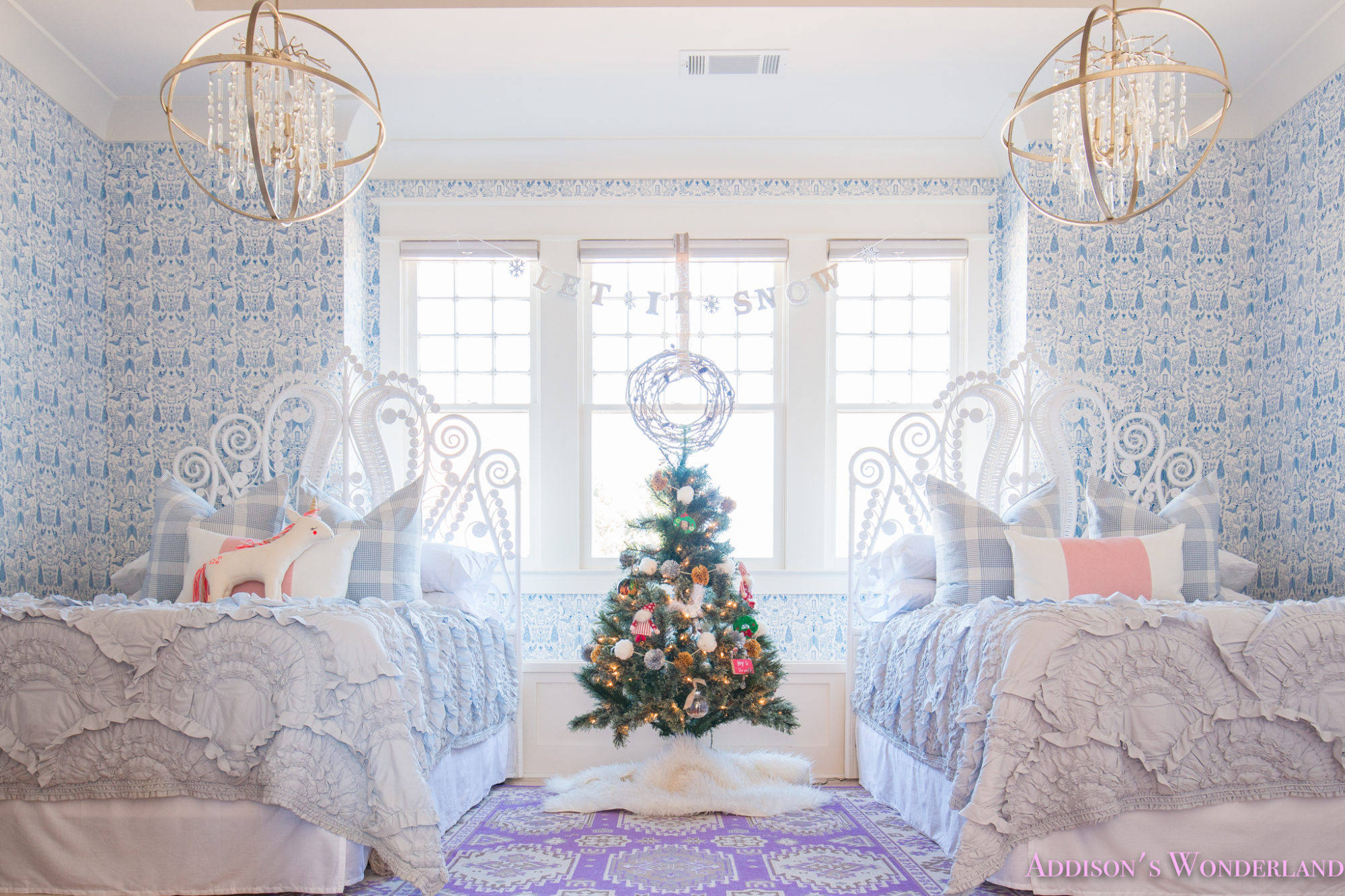 A Blue And White Little Girl S Bedroom Decked Out For