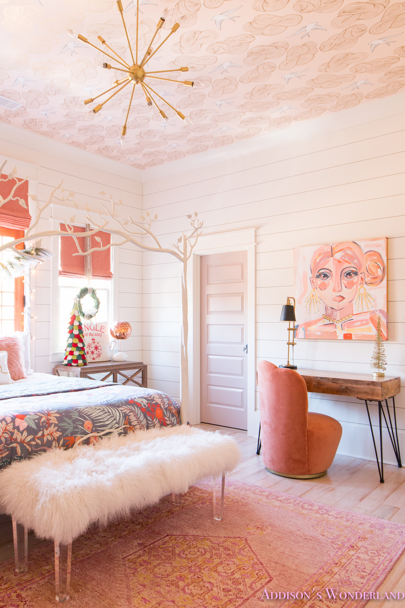 A Little Christmas Decor in Addison's Coral Girl's Bedroom ... on Room Decor Pictures  id=37192