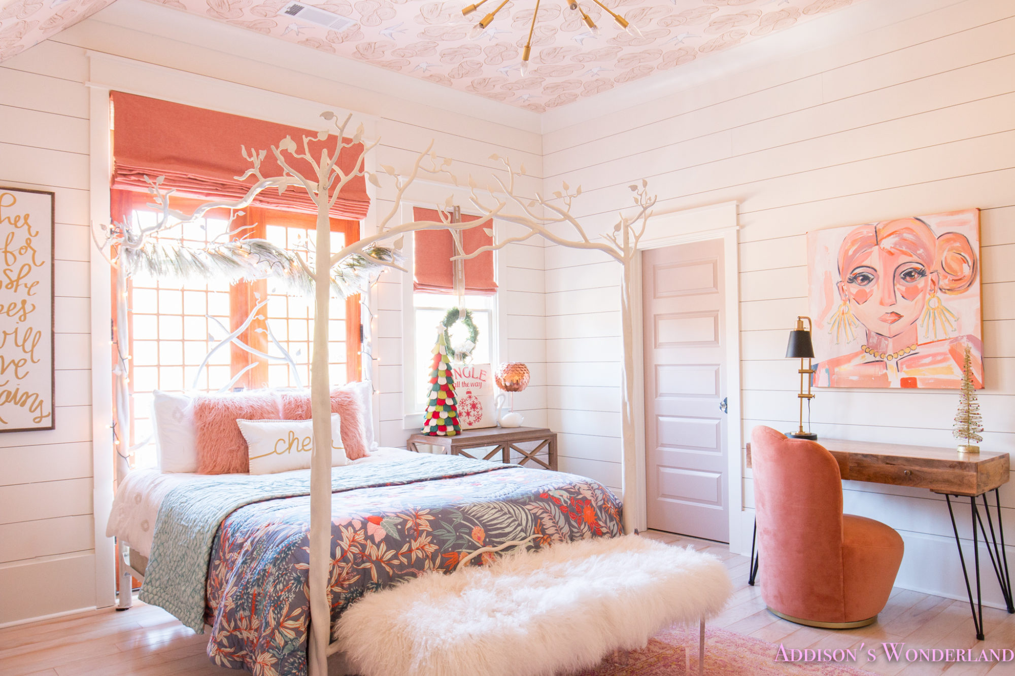 a little christmas decor in addison's coral girl's bedroom with shaw floors