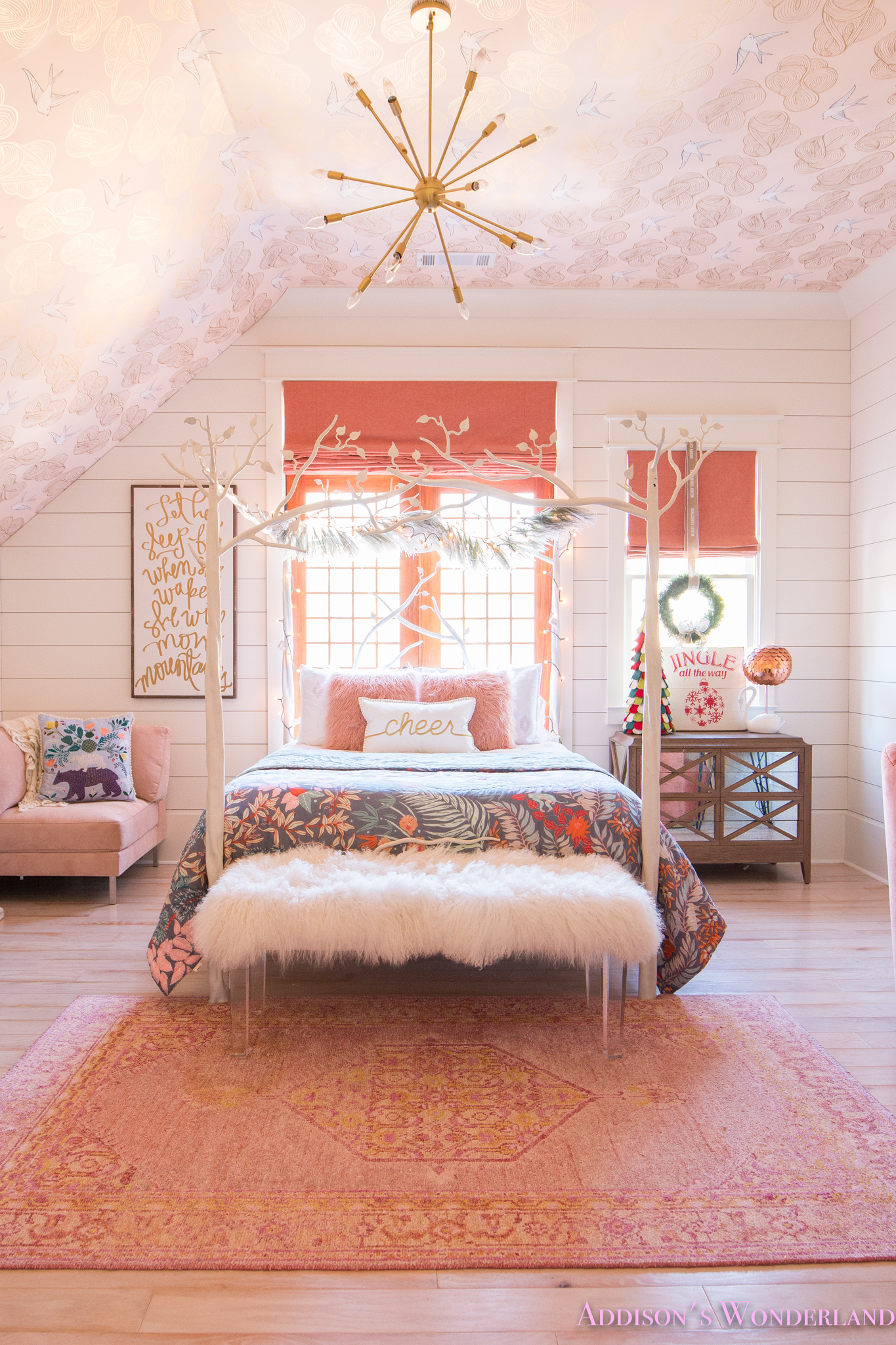 A Little Christmas Decor in Addison's Coral Girl's Bedroom ... on Decoration Room For Girl  id=80694