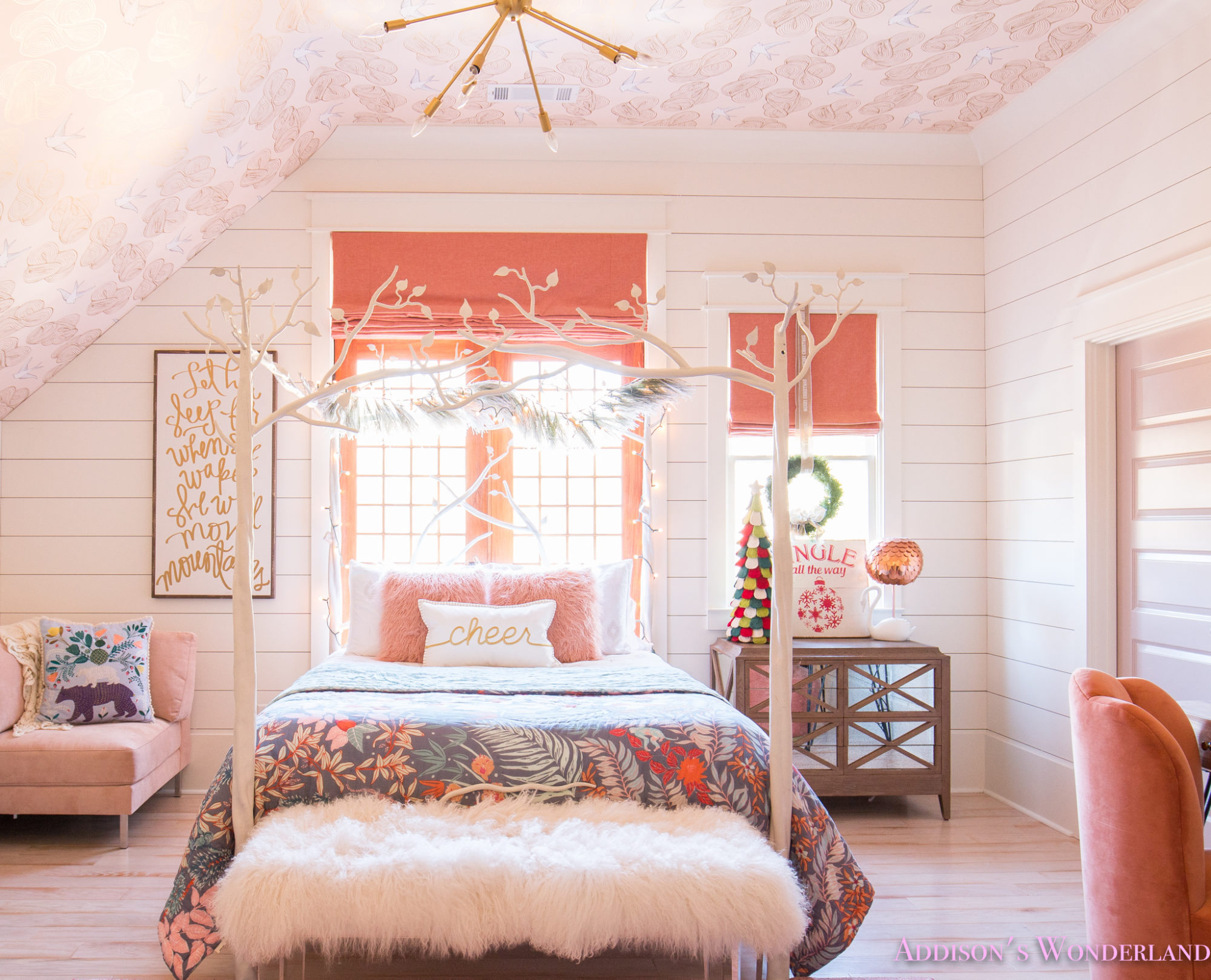 A Little Christmas Decor in Addison's Coral Girl's Bedroom ...
