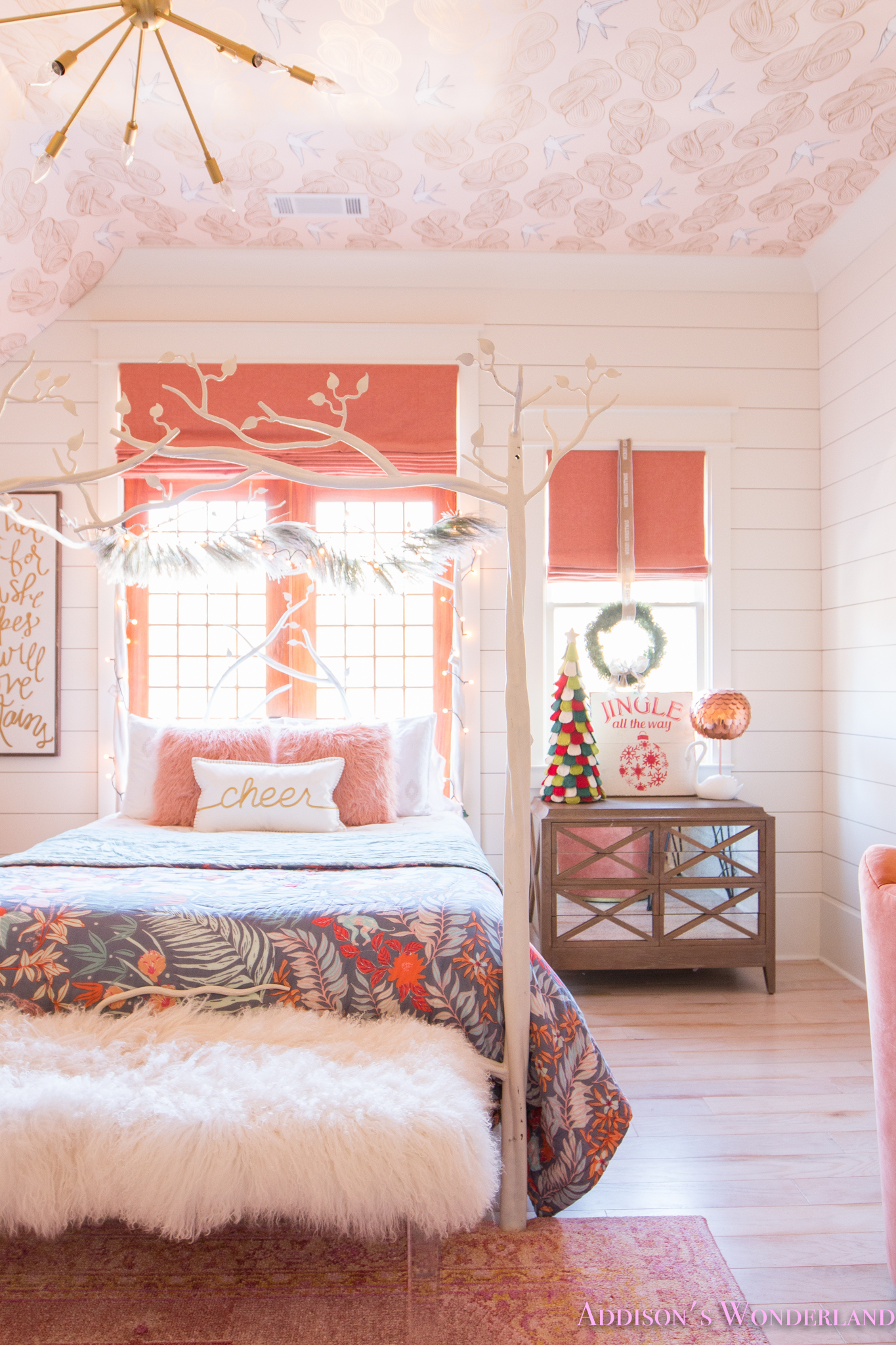 A Little Christmas Decor in Addison's Coral Girl's Bedroom ... on Girls Bedroom Ideas  id=49586