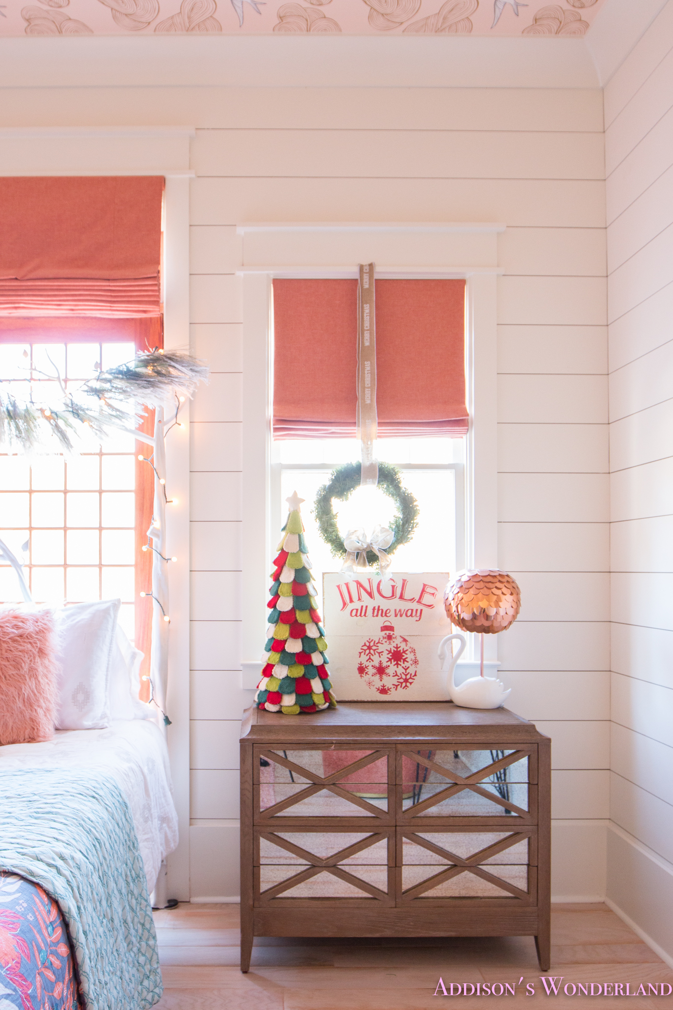 A Little Christmas Decor in Addison's Coral Girl's Bedroom with Shaw Floors…