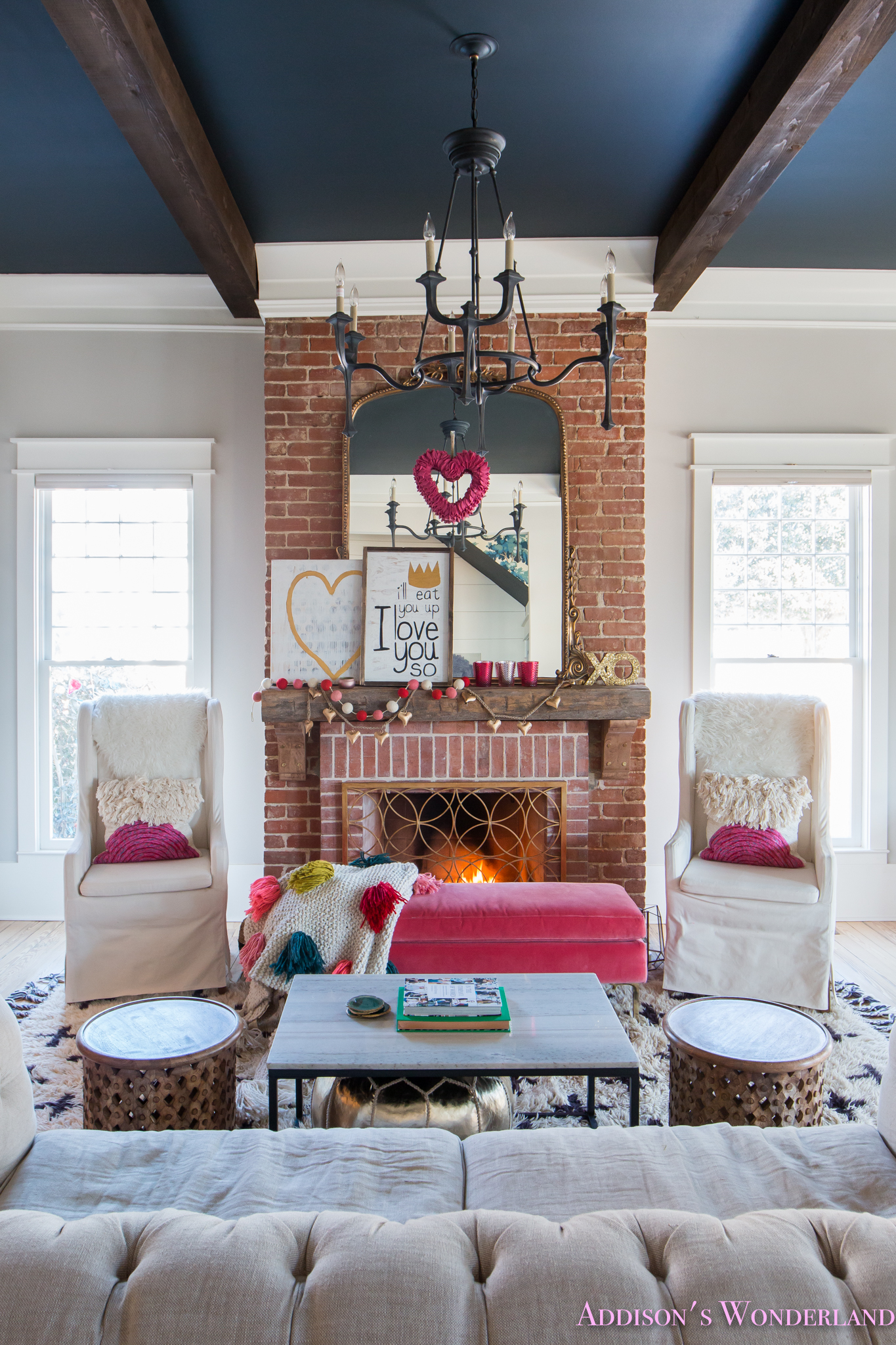 Living Room Decoration: Our Colorful, Whimsical & Elegant Valentine's Day Living
