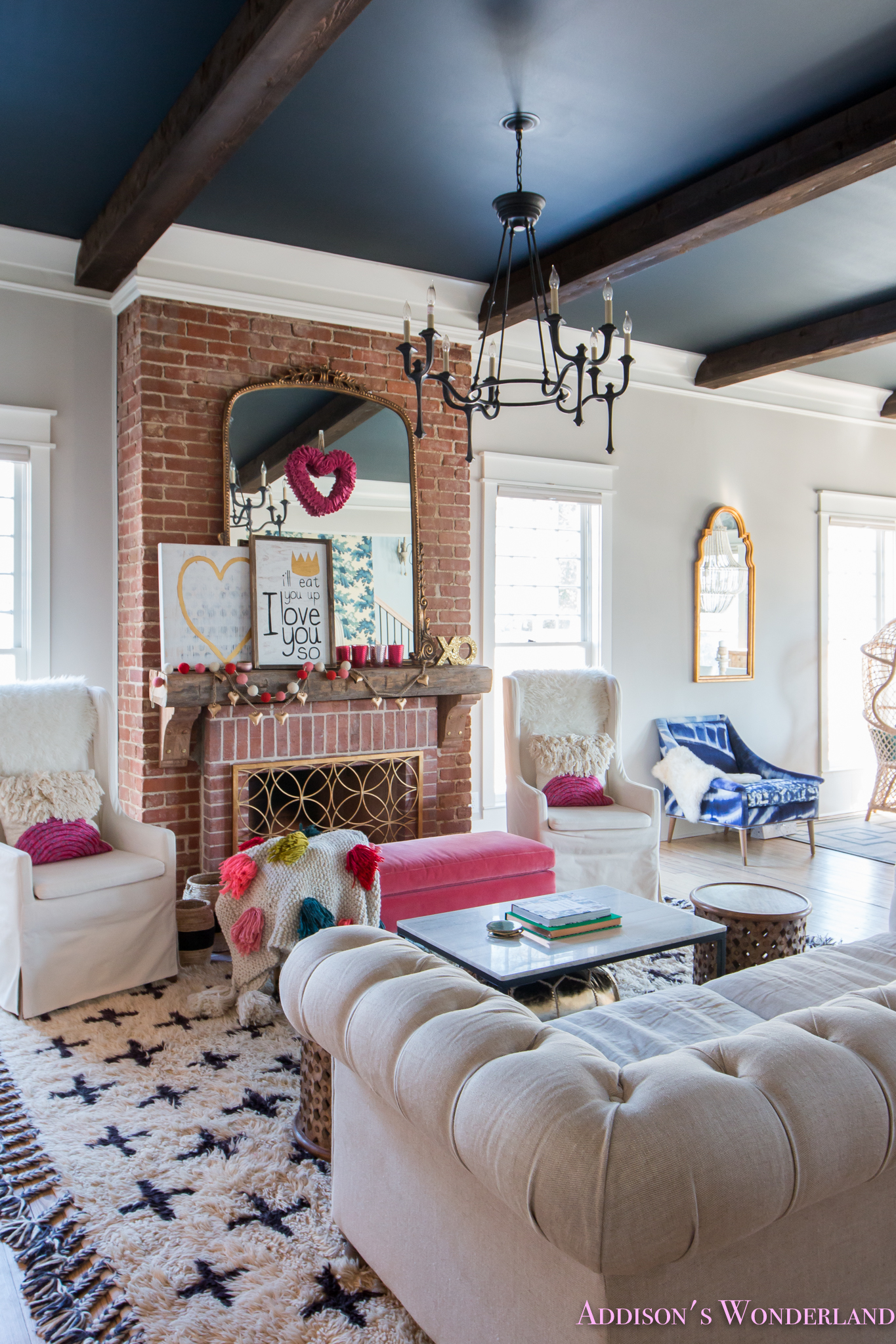 Home Interior Design For Living Room: Our Colorful, Whimsical & Elegant Valentine's Day Living