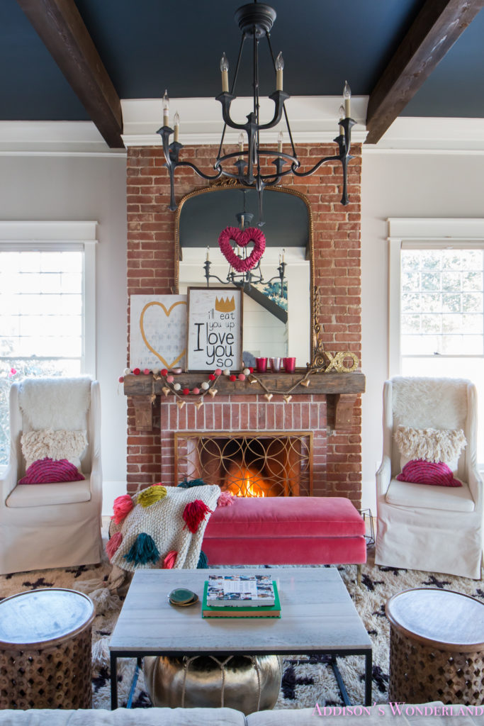 Our colorful whimsical elegant valentine 39 s day living - Family room decorating ideas ...