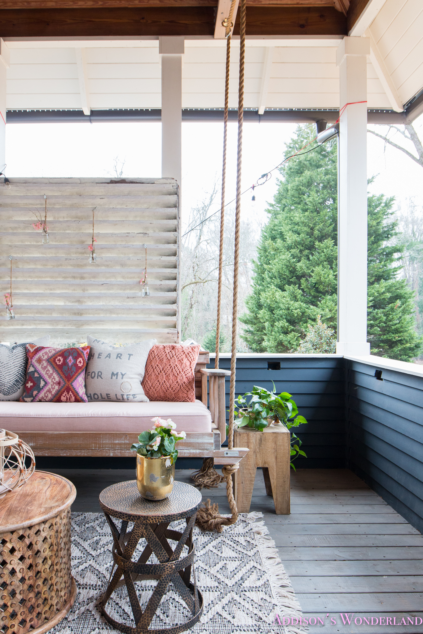 A Spring Refresh & Restyle of Our Back Porch Hanging Daybed…
