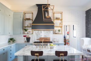 kitchen-white-marble-calcutta-gold-open-shelves-gold-black-vent-hood-blue-gray-cabinets-shaker-style-black-chevron-tile-subway-white-backsplash-decor-ideas-15-of-32