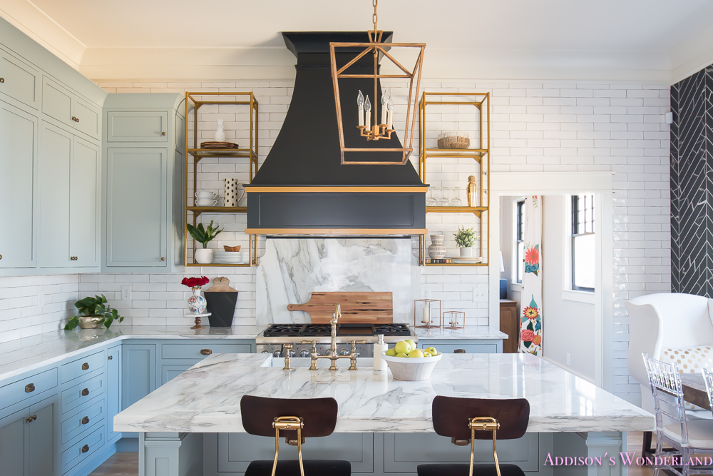 Kitchen White Marble Calcutta Gold Open Shelves Gold Black Vent Hood Blue Gray Cabinets Shaker Style Black Chevron Tile Subway White Backsplash Decor Ideas   ...