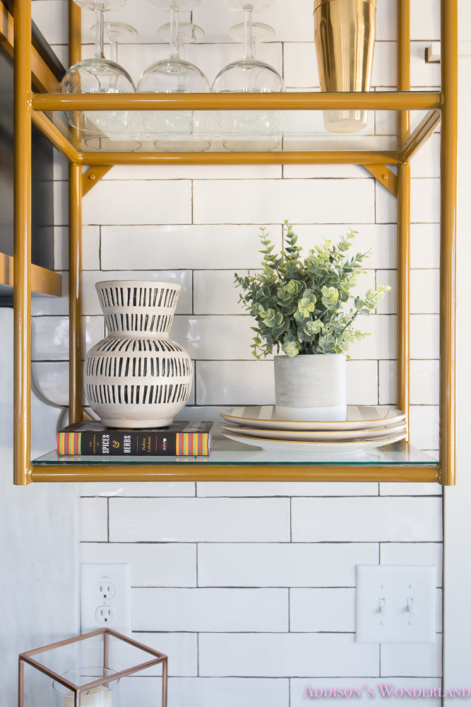 kitchen-white-marble-calcutta-gold-open-shelves-gold-black-vent-hood-blue-gray-cabinets-shaker-style-black-chevron-tile-subway-white-backsplash-decor-ideas-31-of-32