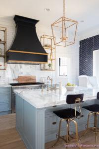 Kitchen White Marble Calcutta Gold Open Shelves Gold Black