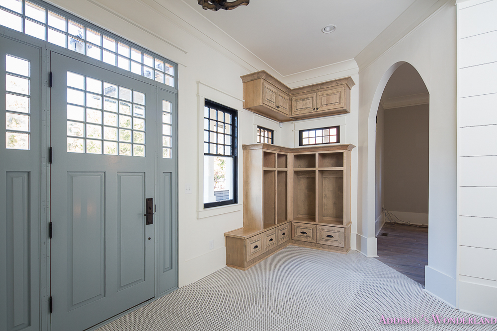 mud-room-white-penny-tile-mosaic-shaw-floors-blue-front-door-alabaster-sherwin-williams-cabinets-coat-rack-storage-2-of-3