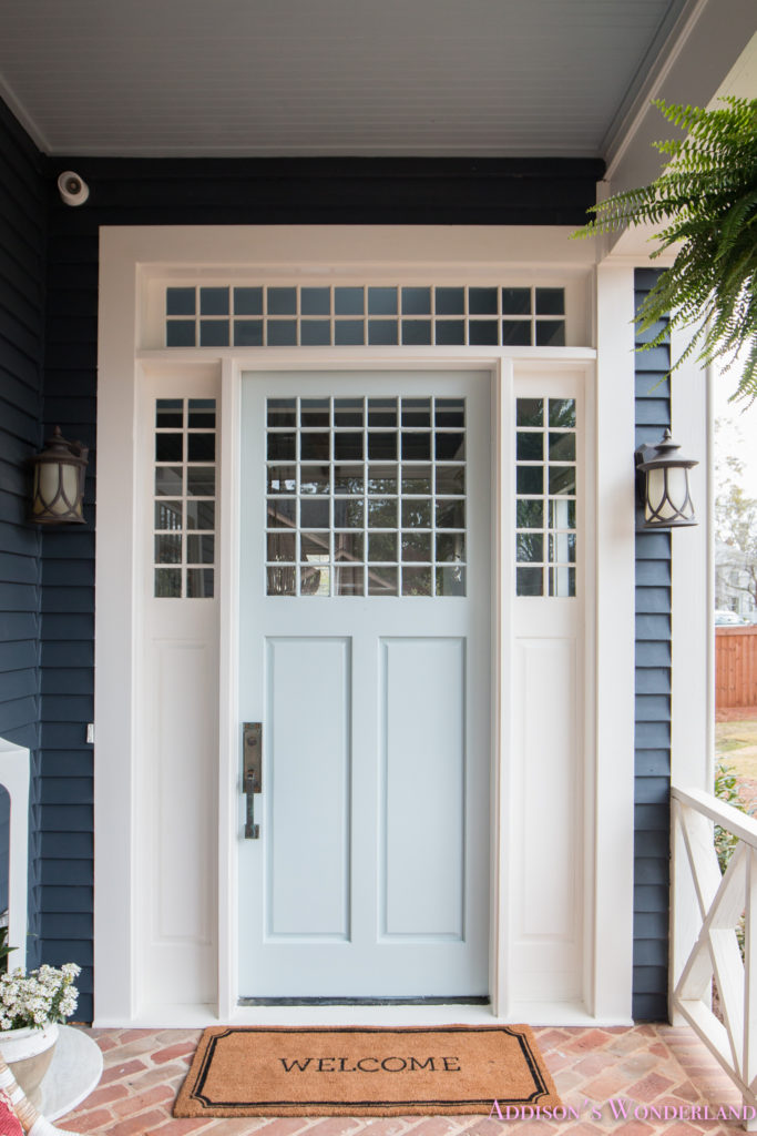 Our beautiful new light blue front door paint color w ace - Front door colors for blue house ...