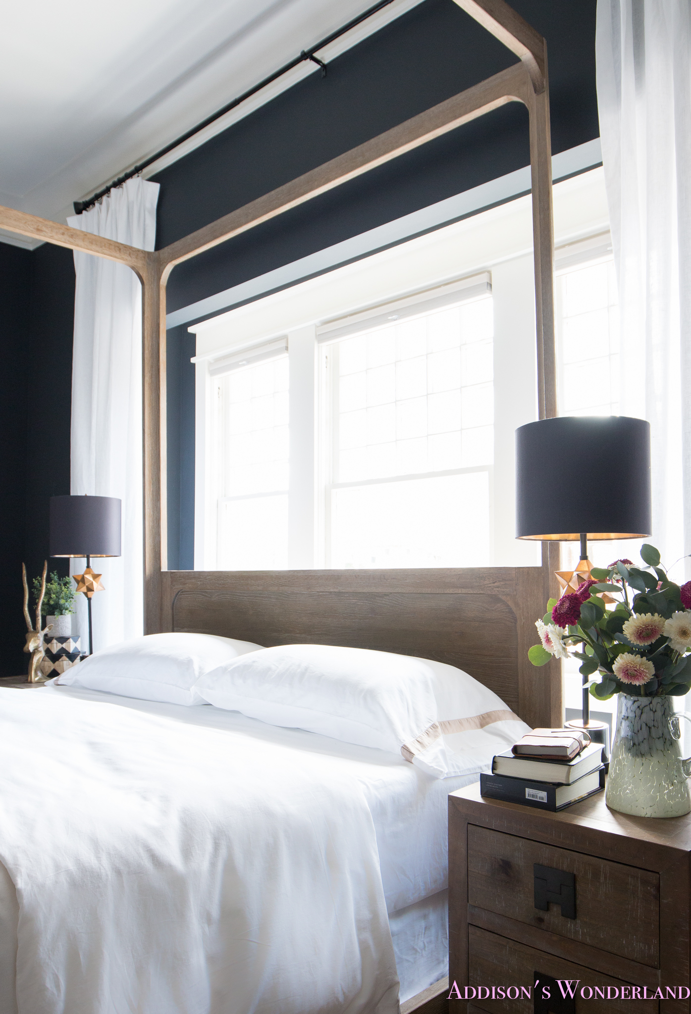 Our Black Master Bedroom Update With All White Bedding By