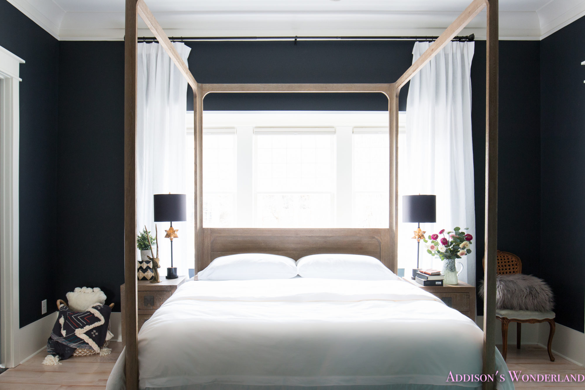 Our black master bedroom update with all white bedding by boll branch Master bedroom bed linens
