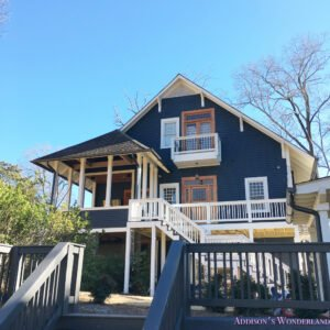 Exterior Craftsman Home House Dark Blue Gray Paint Color Restoration Historic White Trim Stained Doors 1 Of