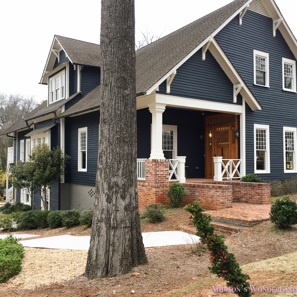 Exterior Craftsman Home House Dark Blue Gray Paint Color