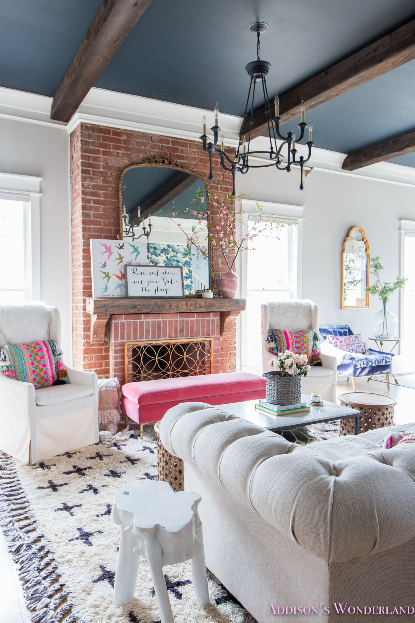a touch of easter  spring decor in our colorful living