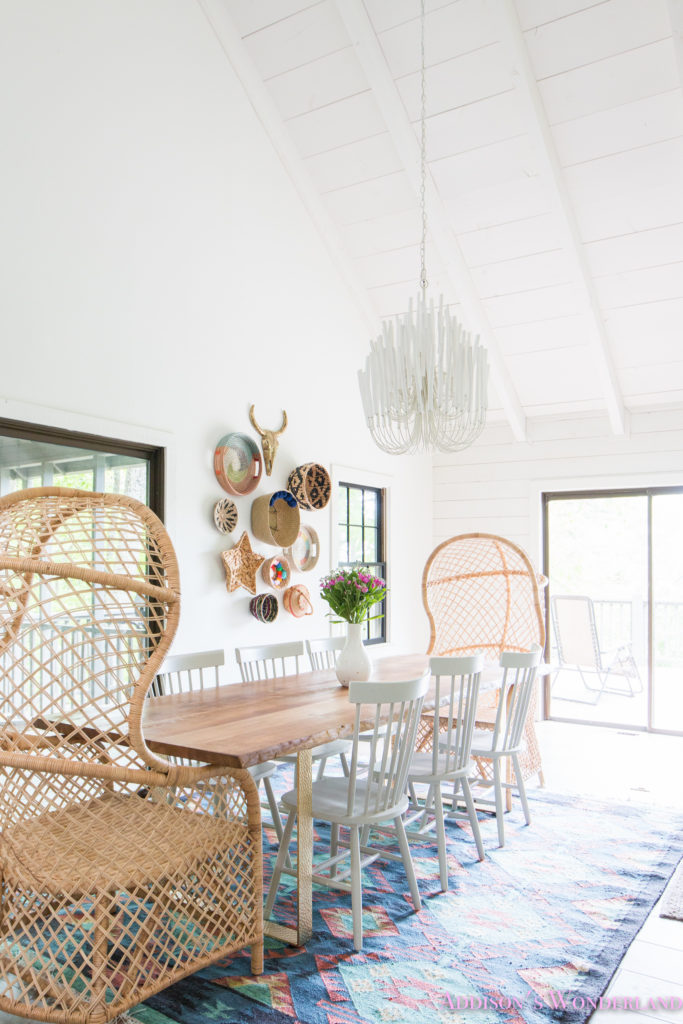 Our aztec country chic all white cabin dining room reveal for All white dining room