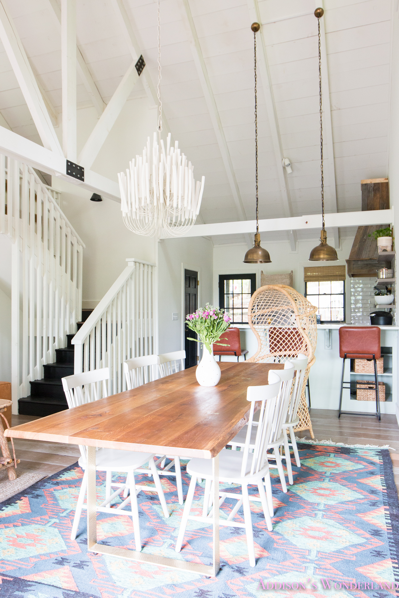 Our Aztec Country Chic All White Cabin Dining Room Reveal