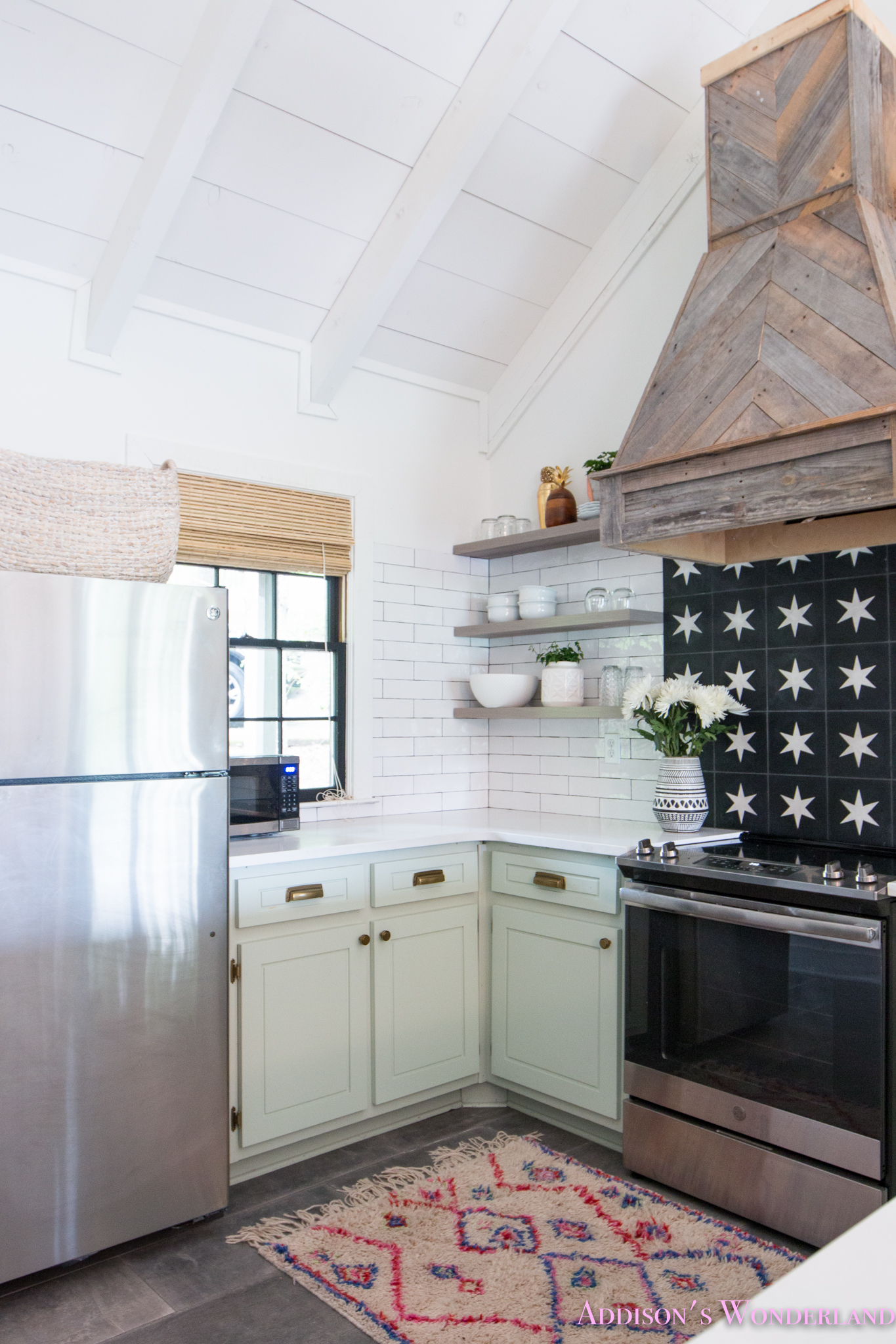 The Full Reveal Of Our White Cabin Kitchen W Light Mint