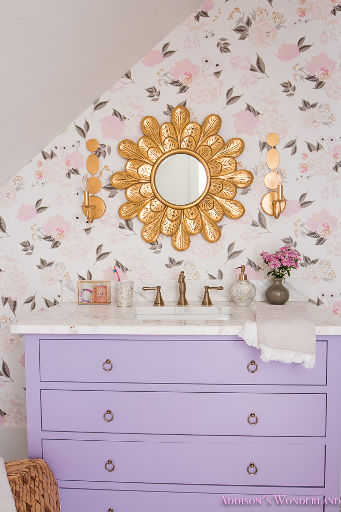 Winter 39 s gorgeous floral wallpaper bathroom reveal for Floral bathroom wallpaper