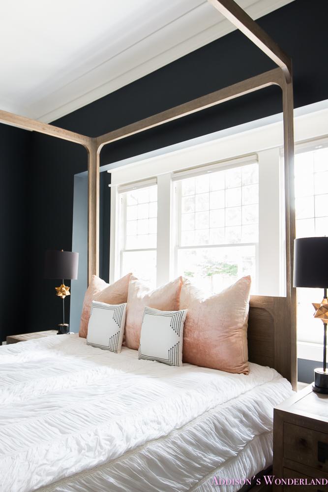 Master Bedroom Nordstrom Home Decor Beaded Chandelier Emerald Green Sear Velvet Cushion Pillows Dark Walls  (5 Of 13)