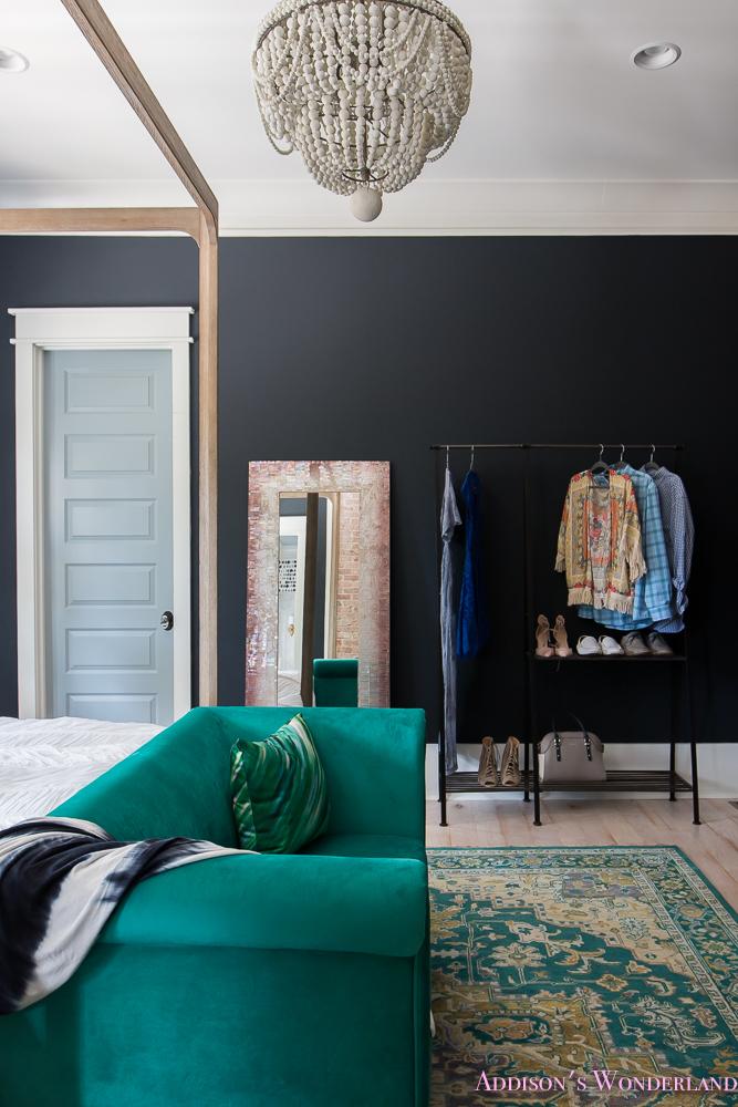 Master Bedroom Nordstrom Home Emerald Seat Dark Walls Beaded Chandelier Wardrobe  (1 Of 3)