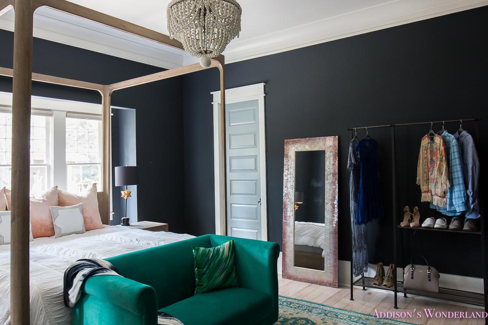 Master Bedroom Nordstrom Home Emerald Seat Dark Walls Beaded Chandelier Wardrobe  (3 Of 3)