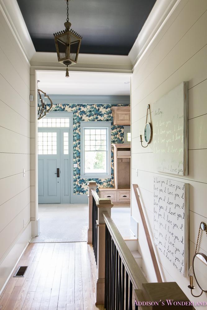 Blue Mud Room Cabinets
