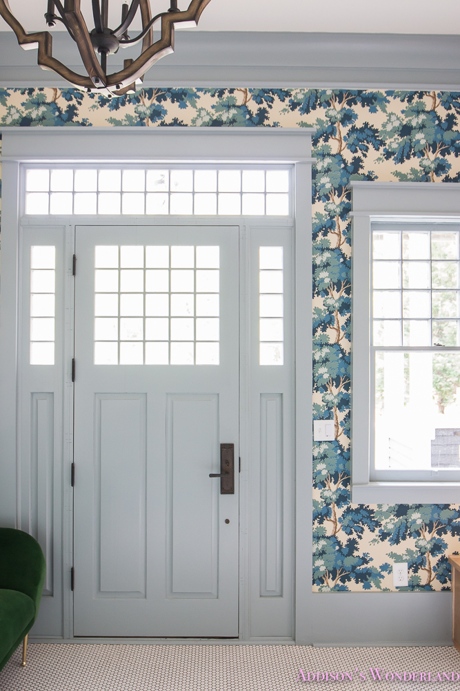 Our Dreamy Blue Wallpapered Mud Room