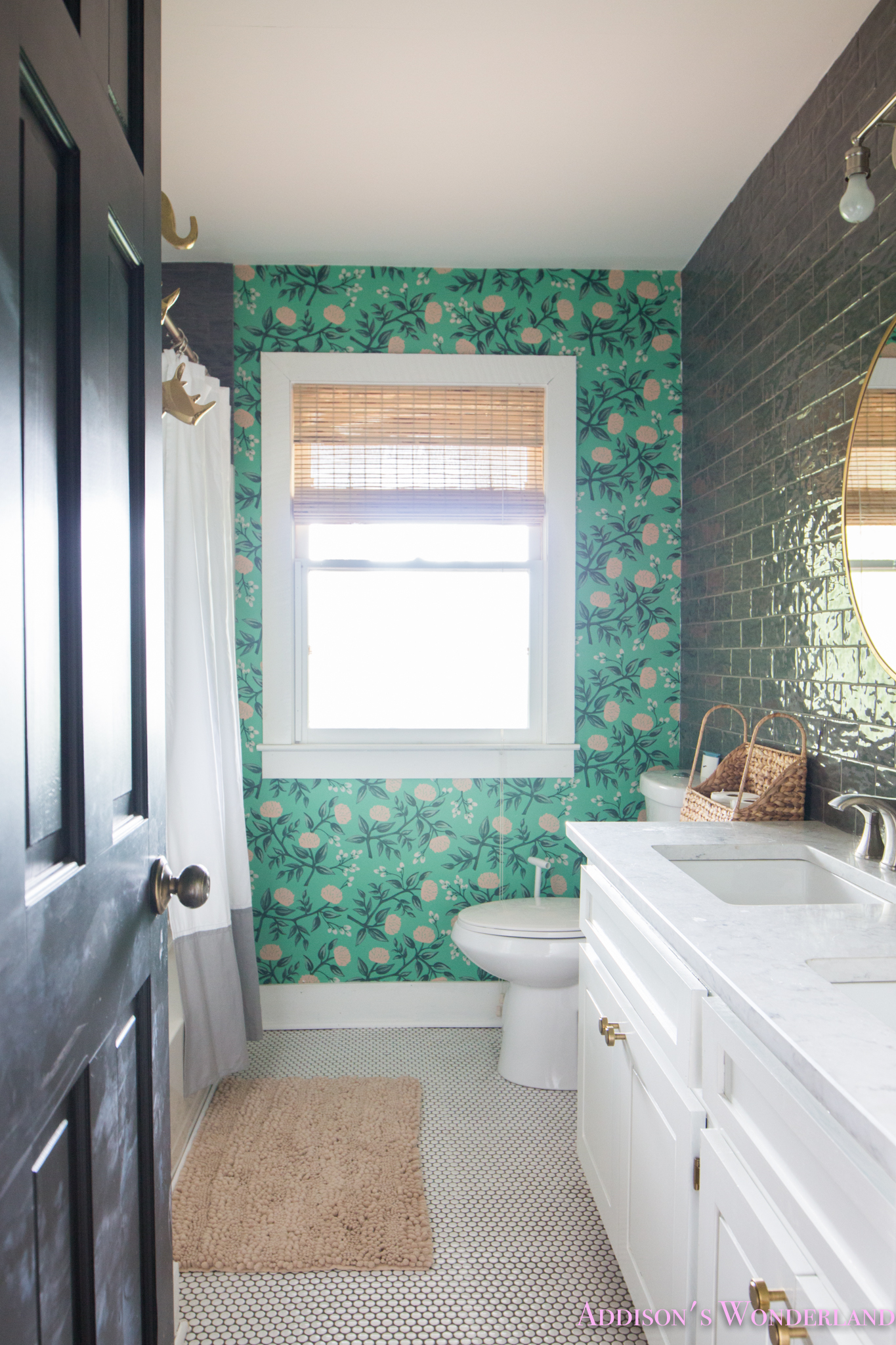 Our Green Poppies Wallpaper Cabin Guest Bathroom Reveal!