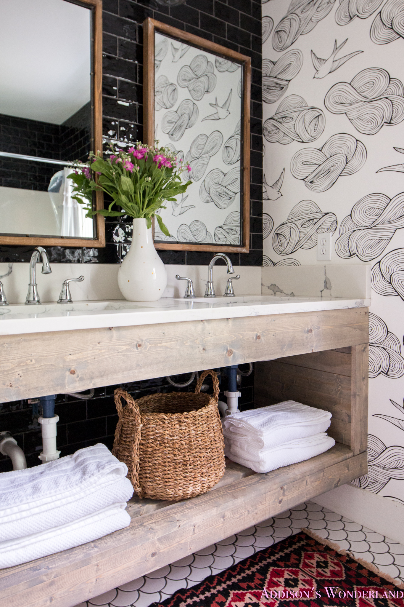 Revealing the Transformation of Our Black & White Cabin Master Bathroom…