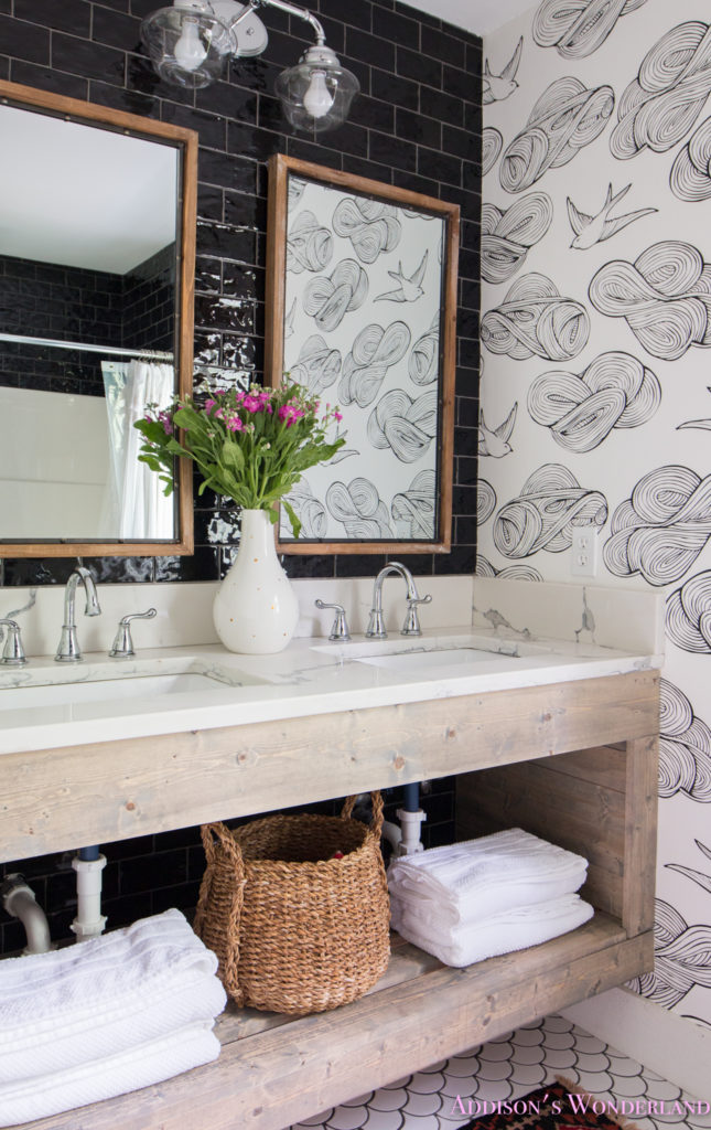 Master Bathroom Tile Dark Walls: Revealing The Transformation Of Our Black & White Cabin