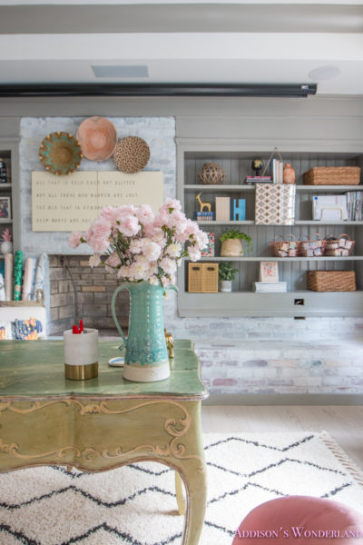 My Whitewashed Brick Walls Basement Home Office Reveal w/ Decorating Ideas!