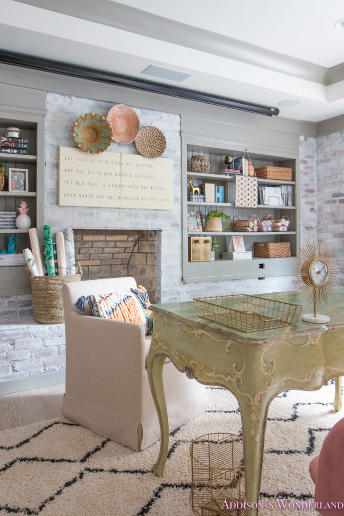 my whitewashed brick walls basement home office reveal w. Black Bedroom Furniture Sets. Home Design Ideas