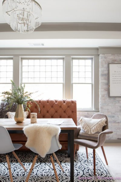 Our Whitewashed Brick Wall Basement Dining & Entertaining Space…